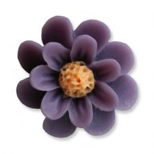 18mm Dark Purple Matte Daisy Resin Flatback Cabochons